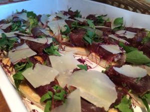 Duck ham, parmesan, cherry jam, puff pastry biscuit