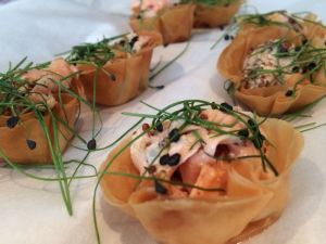 Smoked salmon in filo basket